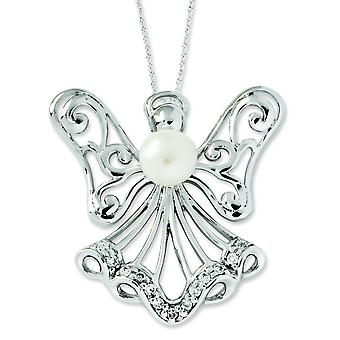 Sterling Silver Freshwater Cultured Pearl and Cubic Zirconia Angel Of Purity 18inch Necklace