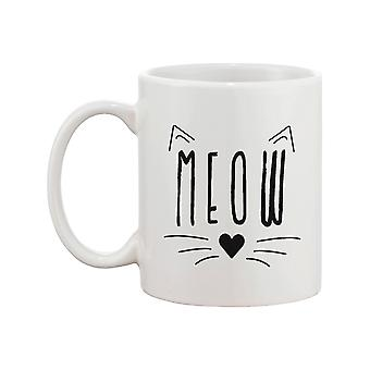 Meow Cute Ceramic Mug Kitty Face Coffee Cup Perfect Gifts Ideas for Cat Lovers