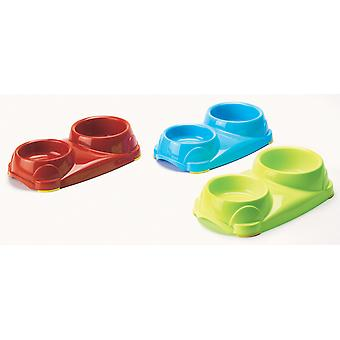 Cena Non Slip Double Dog Bowl Assorted 250ml & 500ml 33.5x19x7.5cm (Pack of 6)