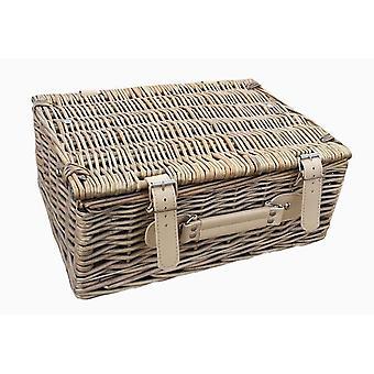 30cm Antique Wash Empty Picnic Basket
