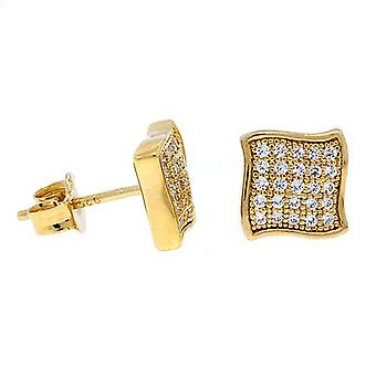 925 sterling silver MICRO PAVE earrings - WAVE 10 mm gold