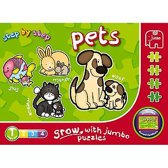 Jumbo Step By Step Pets 4 In A Box Jigsaw Puzzles