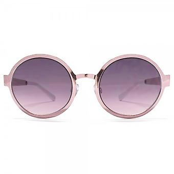 Miss KG Flat Sheet Metal Round Sunglasses In Shiny Rose Pink