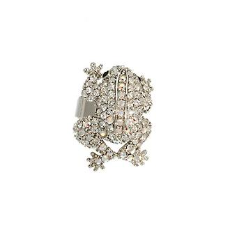 W.A.T Sparkling Clear Swarovksi Crystal Frog Ring