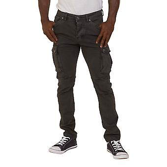 Mens Slim Fit Cargo Trousers Grey Army Combat Pants