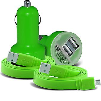 (Green) Yezz Andy 5EL LTE Universal Compact desine 12v Quick Mini Bullet USB Dual Port In Car Charger & 2x Micro USB Flat 1 Metre Data Snyc PC Tablet Charging Cable By i -Tronixs