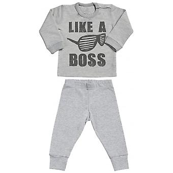 Spoilt Rotten Like A Boss Sweatshirt & Jersey Trousers Baby Outfit Set