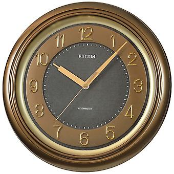 Wall clock watch brown quartz creeping second with Westminster melody