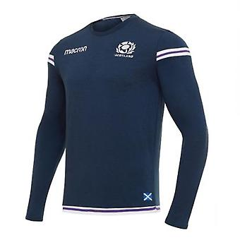 2017-2018 Scotland Macron Rugby Official LS Poly Cotton T-Shirt (Navy)