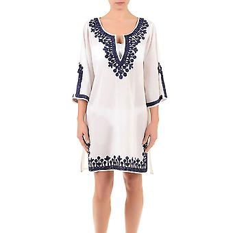 Iconique IC7-095 Women's White and Blue Embroidered Kaftan