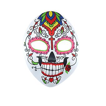 Adults Day Of The Dead Colourful Skeleton Face Mask Halloween Accessory