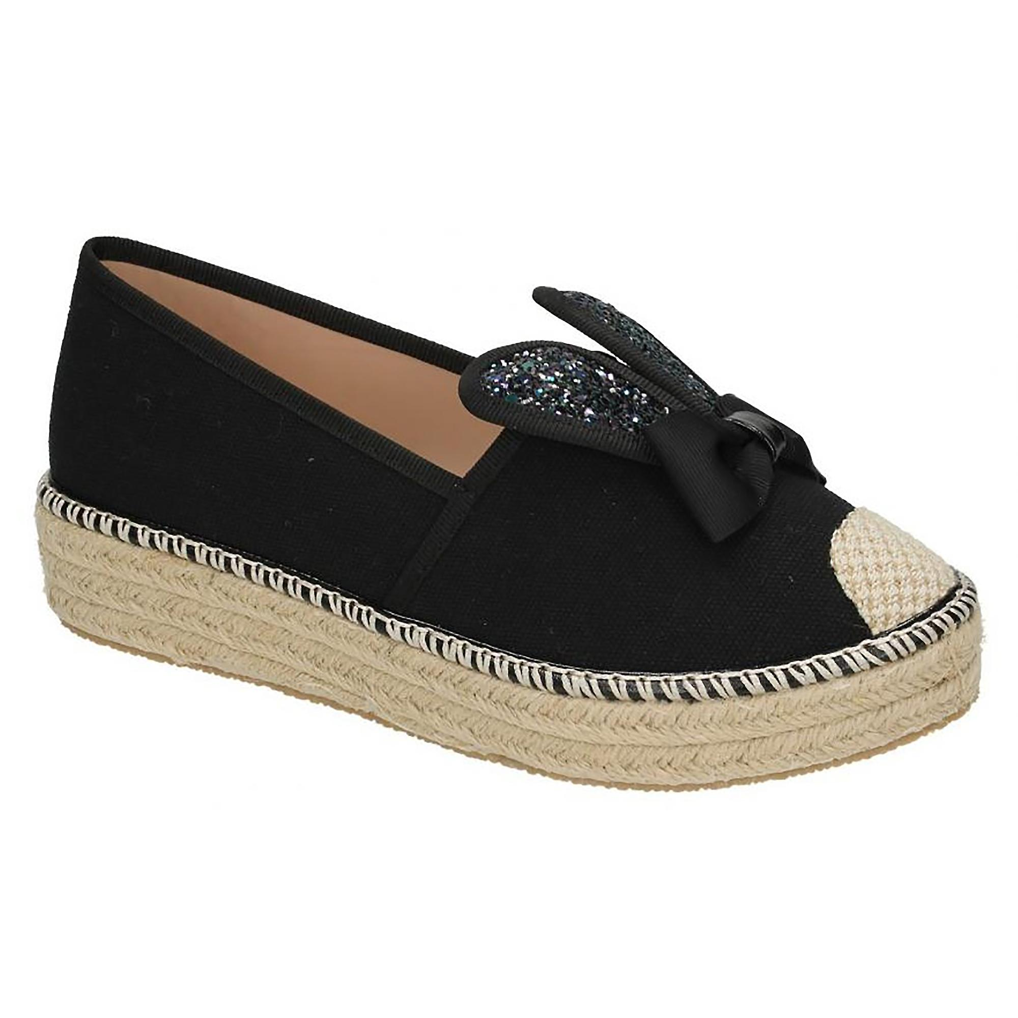 Aline Womens Shoes Slip Spot Rope Ears Canvas On Bunny Ladies On HRwR5qY