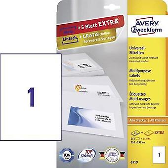 Avery-Zweckform 6119 Labels (A4) 210 x 297 mm Paper White 30 pc(s) Permanent All-purpose labels Inkjet, Laser, Copier