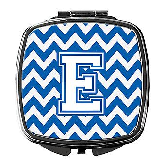 Carolines Treasures  CJ1045-ESCM Letter E Chevron Blue and White Compact Mirror