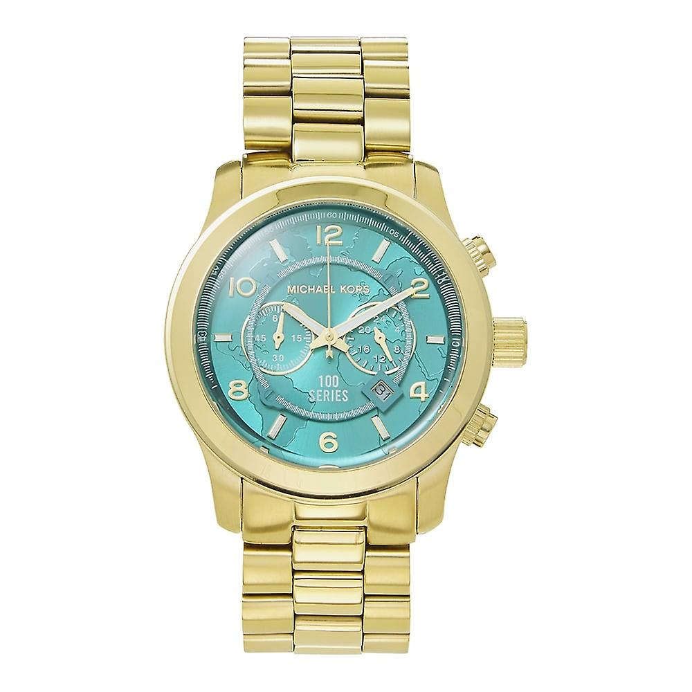 Michael Kors Watches Mk8315 Runway Turquoise & Gold Chronograph Ladies Watch