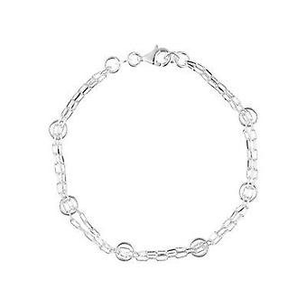 Feine Sterling Silber 925 Damen Womens Square Ring Charms Kette Armband