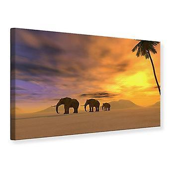 Canvas Print woestijn olifanten