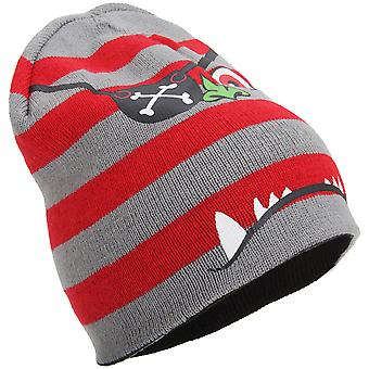 Childrens Boys Knitted 4-In-1 Reversible Monster Design Beanie Hat