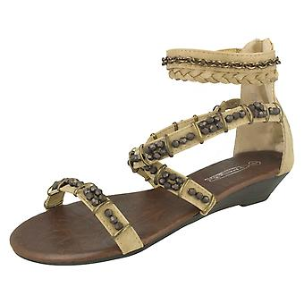 Ladies Spot On Low Wedge Strappy Sandals