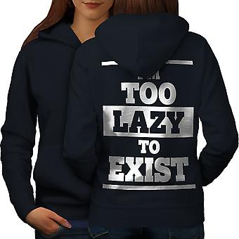 Lazy To Exist Cool Funny Women NavyHoodie Back | Wellcoda