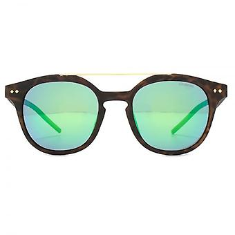 Polaroid Keyhole Double Bridge Sunglasses In Brown Havana Green Mirror Polarised
