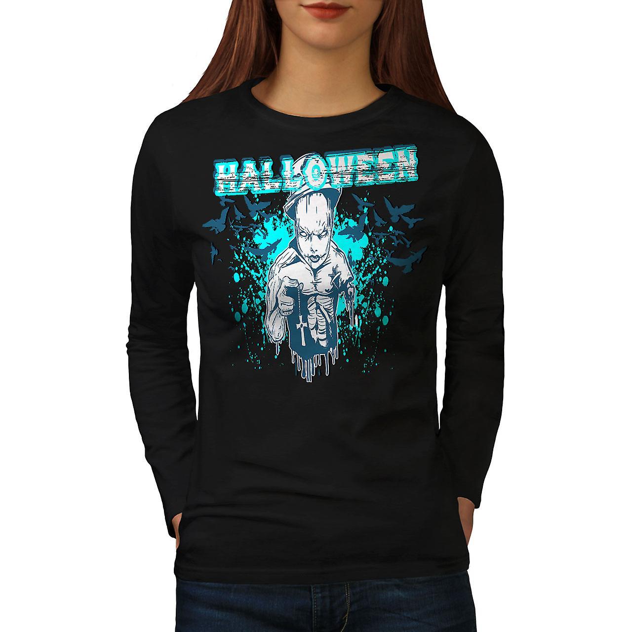Halloween skräck kult kvinnor Svart långärmad T-shirt | Wellcoda