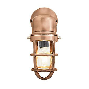Vintage Industrial Cage Bulkhead Wall Light Sconce with Glass - Copper