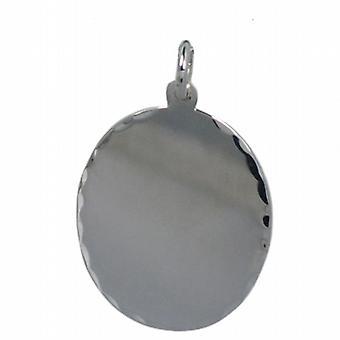 Silver 27x21mm diamond cut edge oval Disc