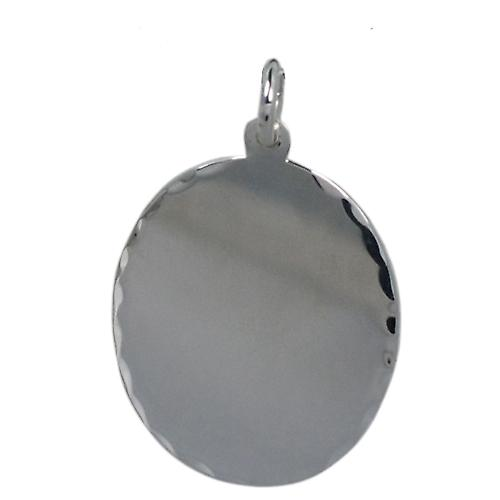 Silver 27x21mm diamond cut edge oval Disc