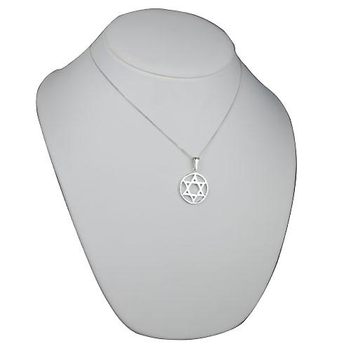 Silver 25mm plain Star of David in circle Pendant with a curb Chain 18 inches
