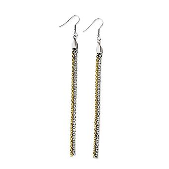 Stainless Steel Polished Chain Dangle Earrings