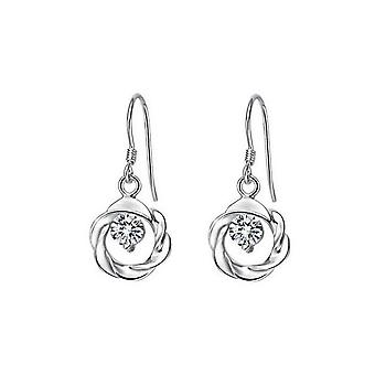 Silver And White Zircon Jewellery Circle Wreath Pendant Earrings Crystal Stones