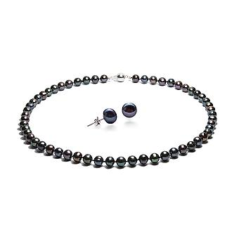 Set collar and buckles of ears cultured black pearls and Silver 925