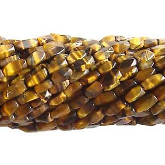 35+ Yellow/Brown Tiger Eye Approx 5 x 10mm Faceted Nugget Handcut Beads DW1840