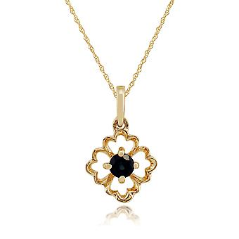 Gemondo 9ct Yellow Gold 0.16ct Floral Sapphire Pendant on Chain
