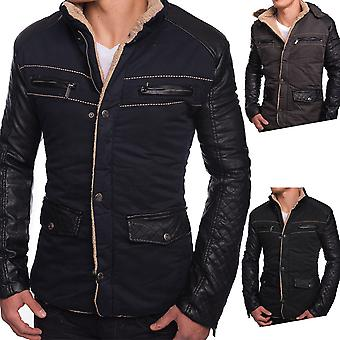 Men's Winter Jacket Fiord jacket leather sleeves quilted warm lining Hood Fur