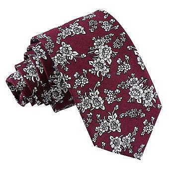 Bordowy kwiatowy Daphne bawełny wąski krawat
