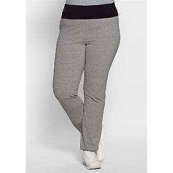 sheego ladies sport trousers with contrast collar grey