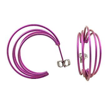 Ti2 Titanium Large Wire Hoop Earrings - Candy Pink