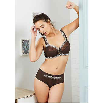 Guy de France 21255-4-170 Women's Brown Solid Colour Embroidered Underwired Full Cup Bra