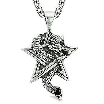 Mod dragen magiske kræfter stjerne femtakkede Amulet sort simuleret Onyx vedhæng 18 tommer halskæde