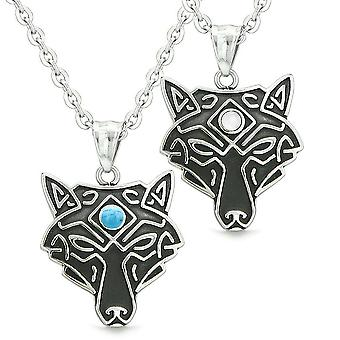 Celtic Wolf Third Eye Couples Best Friends White Simulated Cats Eye Simulated Turquoise Necklaces