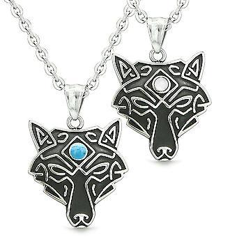Keltisk Wolf tredje øyet par beste venner hvite simulert katter øye simulert turkis halskjeder