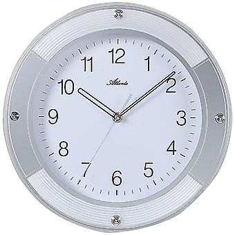 Atlanta 4348 wall clock quartz analog silver round quietly without ticking