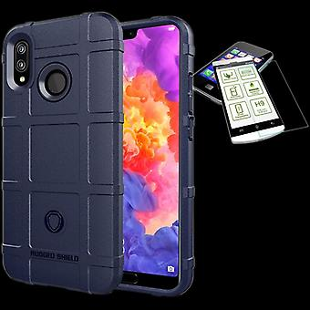 For Huawei P20 shield case TPU silicone blue + 0.26 mm 2.5 d H9 tempered glass bag case cover sleeve