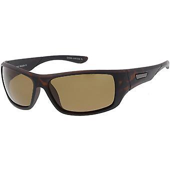Men's Sports Wrap Rectangle Sunglasses Neutral Colored Polarized Lens 65mm