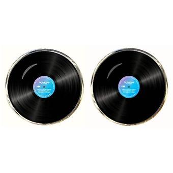 Bassin et boutons de manchettes disque vinyle brun - noir