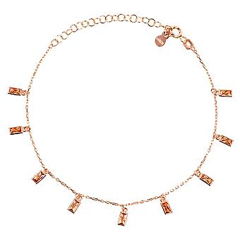 Fine Chain Champagne Pink Rose Gold Baguette Gemstone Charm Bracelet CZ Gift