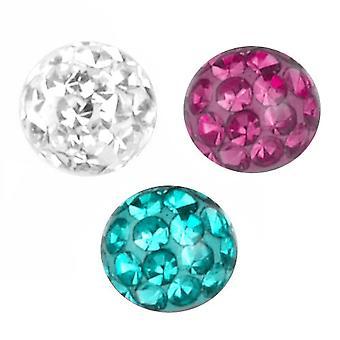 3 impostare il pacchetto Piercing sostituzione sfera 1, 6mm, Multi cristallo, miscelati colore   4-8 mm