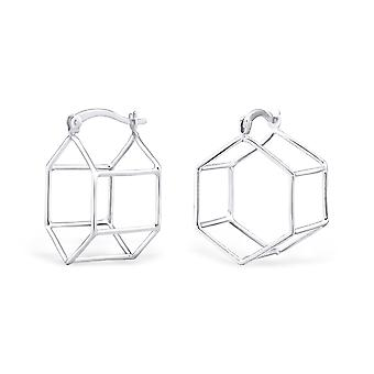 Geometric - 925 Sterling Silver Ear Hoops - W34506x